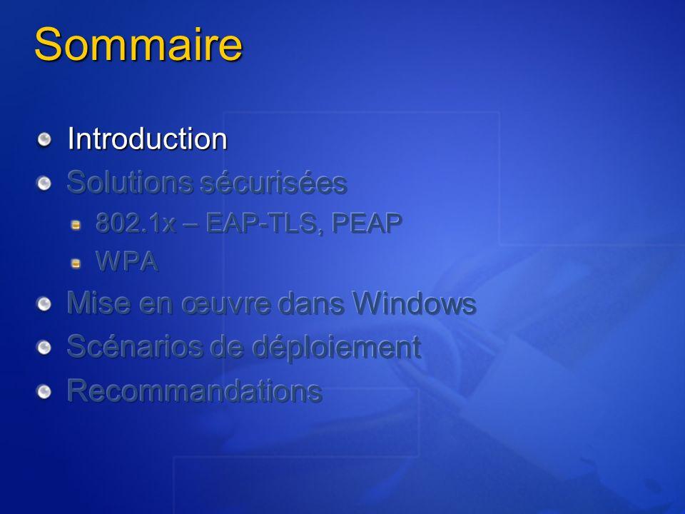 Sommaire Introduction Solutions sécurisées Mise en œuvre dans Windows