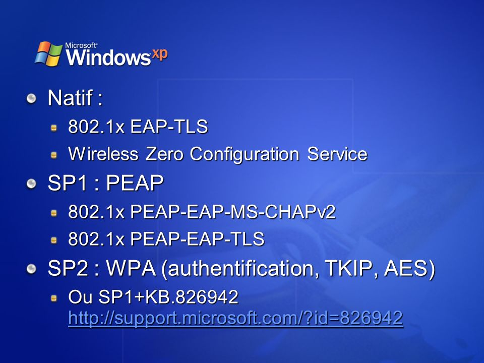 SP2 : WPA (authentification, TKIP, AES)