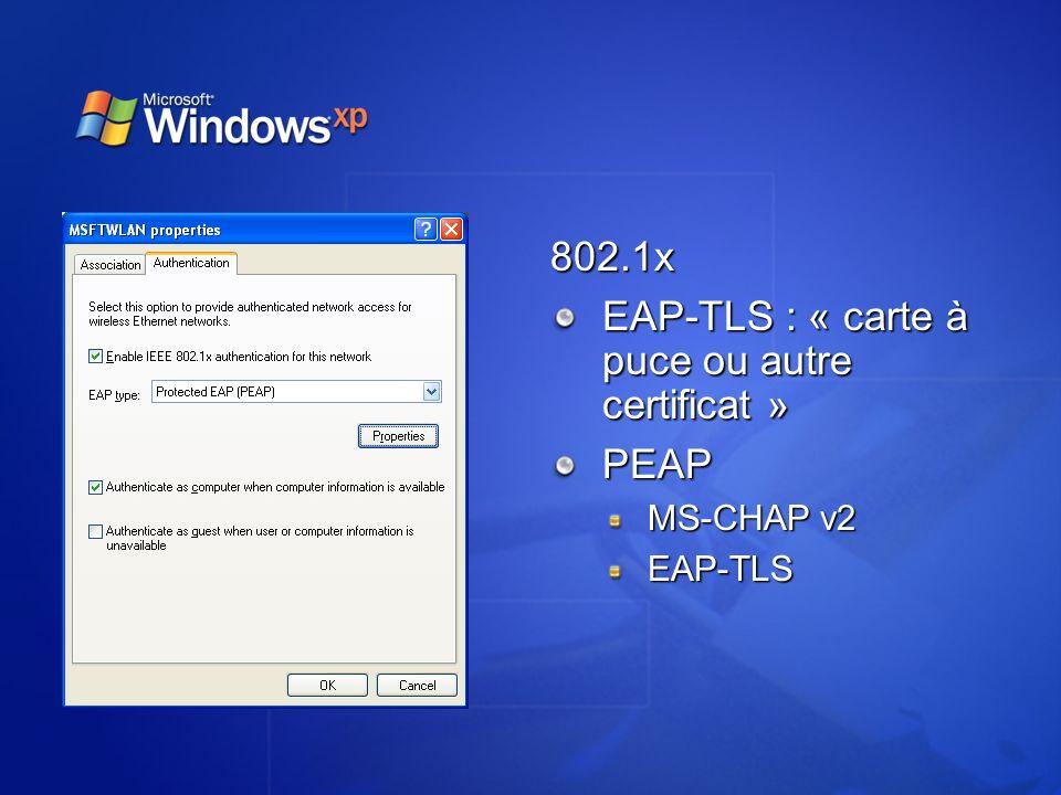 EAP-TLS : « carte à puce ou autre certificat »