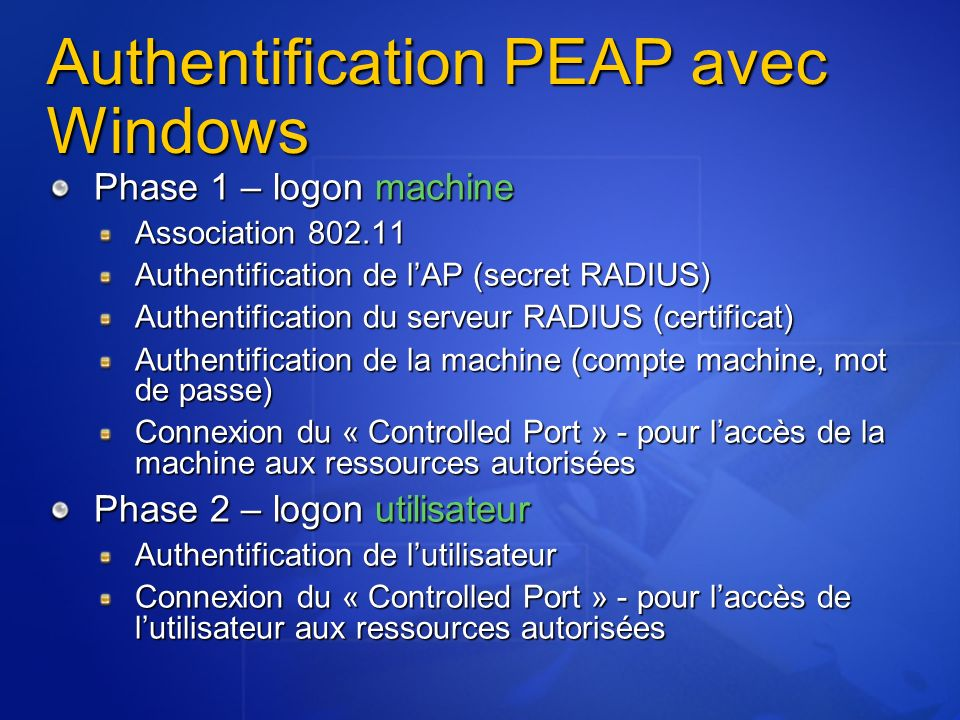 Authentification PEAP avec Windows