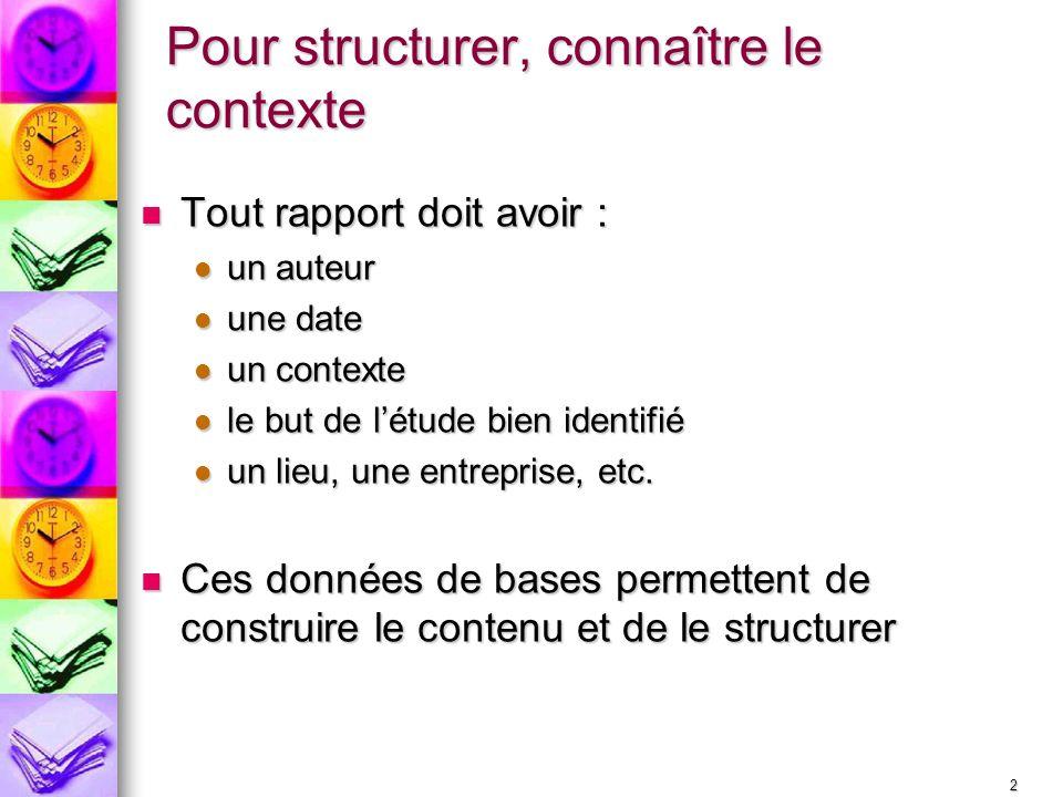 Pour structurer, connaître le contexte