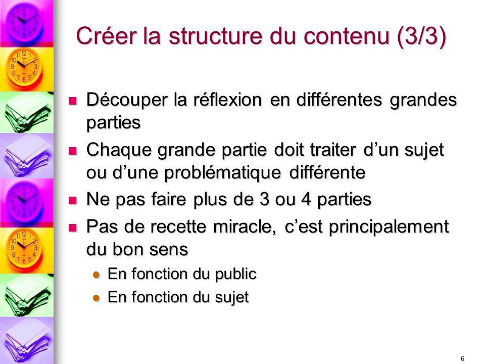 Créer la structure du contenu (3/3)
