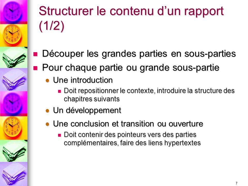Structurer le contenu d'un rapport (1/2)