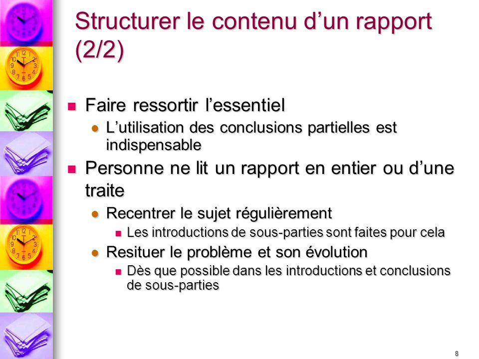 Structurer le contenu d'un rapport (2/2)