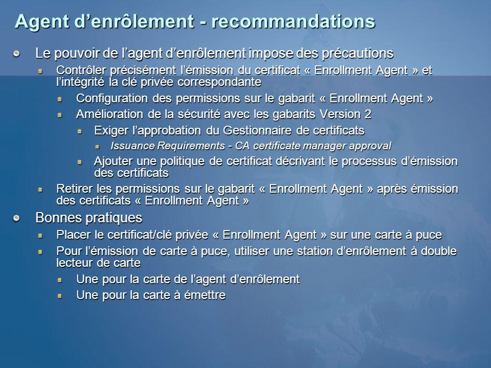 Agent d'enrôlement - recommandations