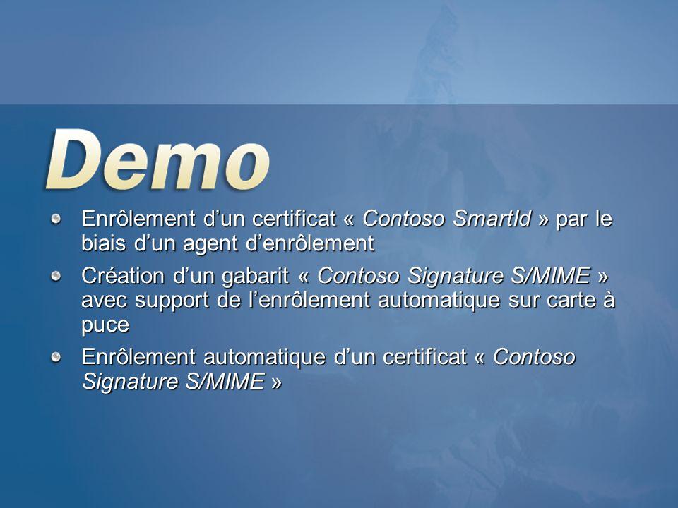 Enrôlement d'un certificat « Contoso SmartId » par le biais d'un agent d'enrôlement