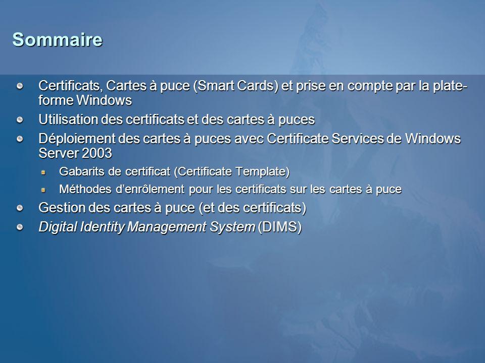 3/26/2017 3:55 PM Sommaire. Certificats, Cartes à puce (Smart Cards) et prise en compte par la plate-forme Windows.