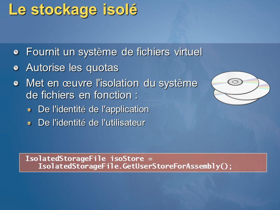Le stockage isolé Fournit un système de fichiers virtuel