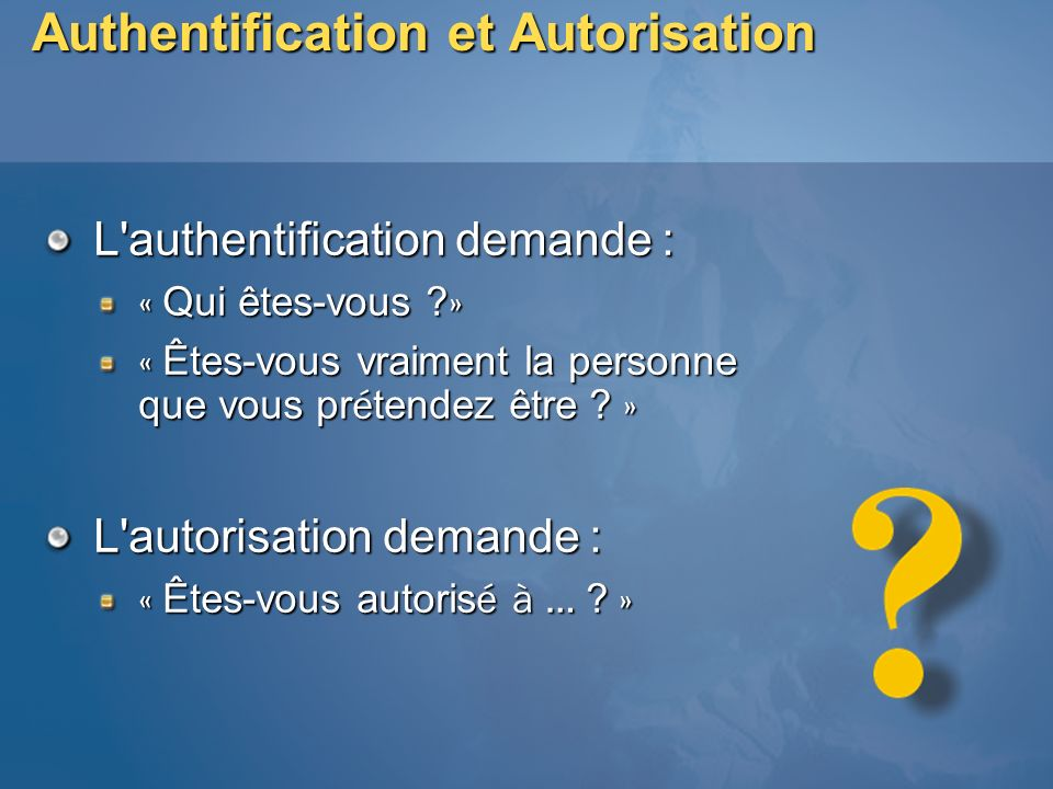 Authentification et Autorisation