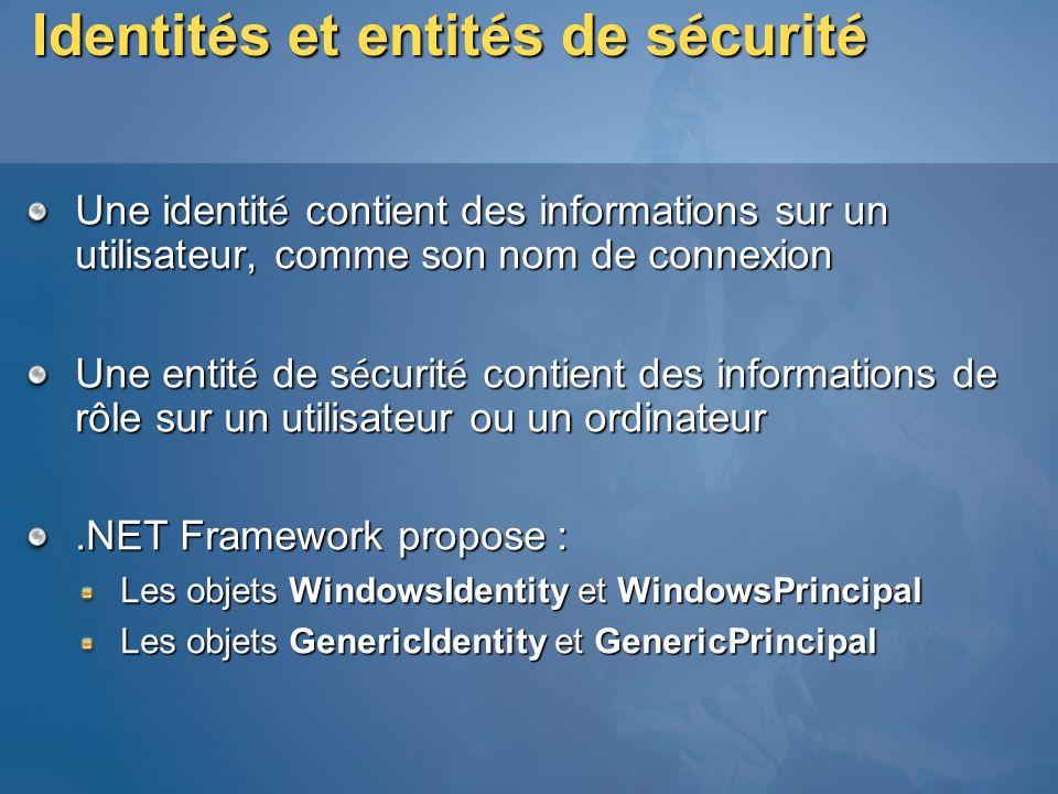 Identités et entités de sécurité