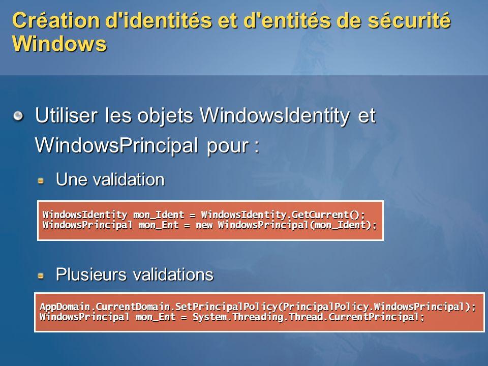 Création d identités et d entités de sécurité Windows