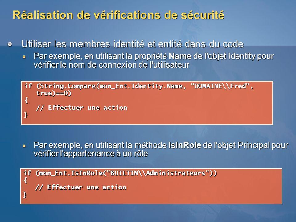 Réalisation de vérifications de sécurité