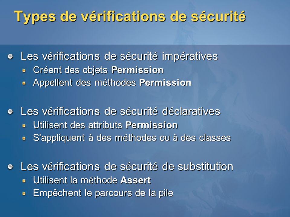 Types de vérifications de sécurité