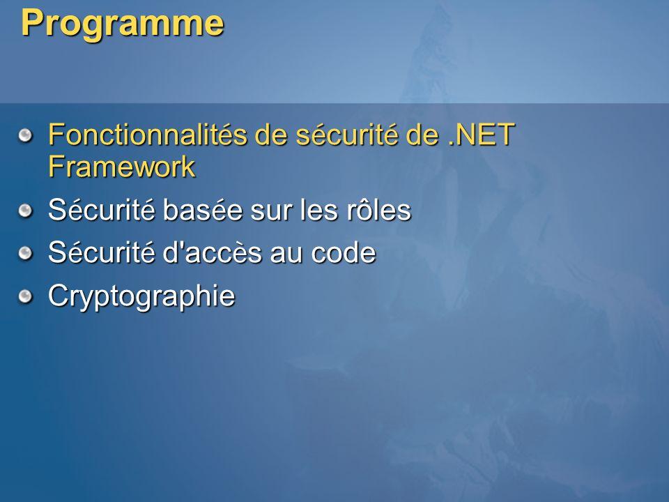 Programme Fonctionnalités de sécurité de .NET Framework