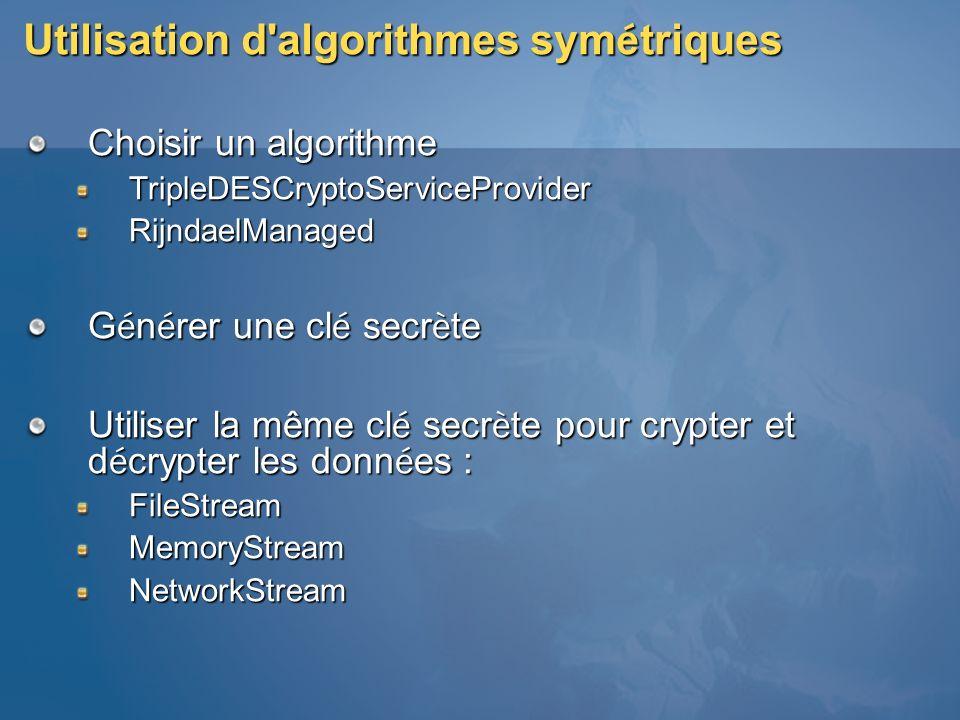 Utilisation d algorithmes symétriques
