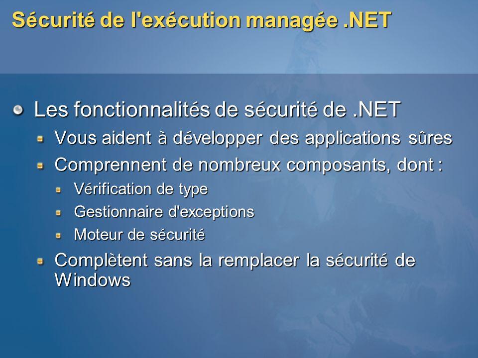 Sécurité de l exécution managée .NET