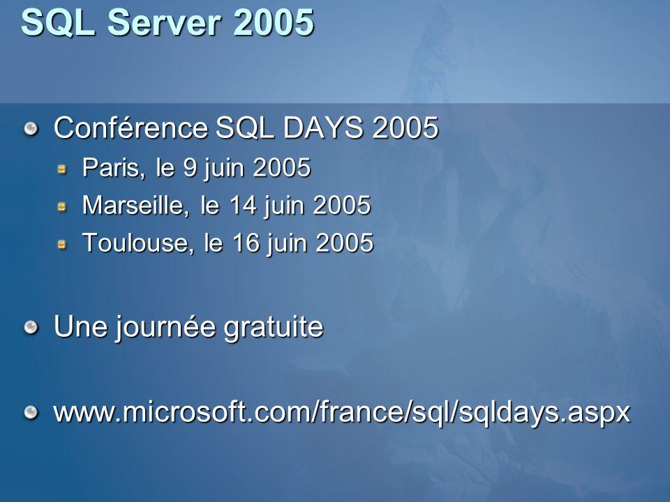 SQL Server 2005 Conférence SQL DAYS 2005 Une journée gratuite