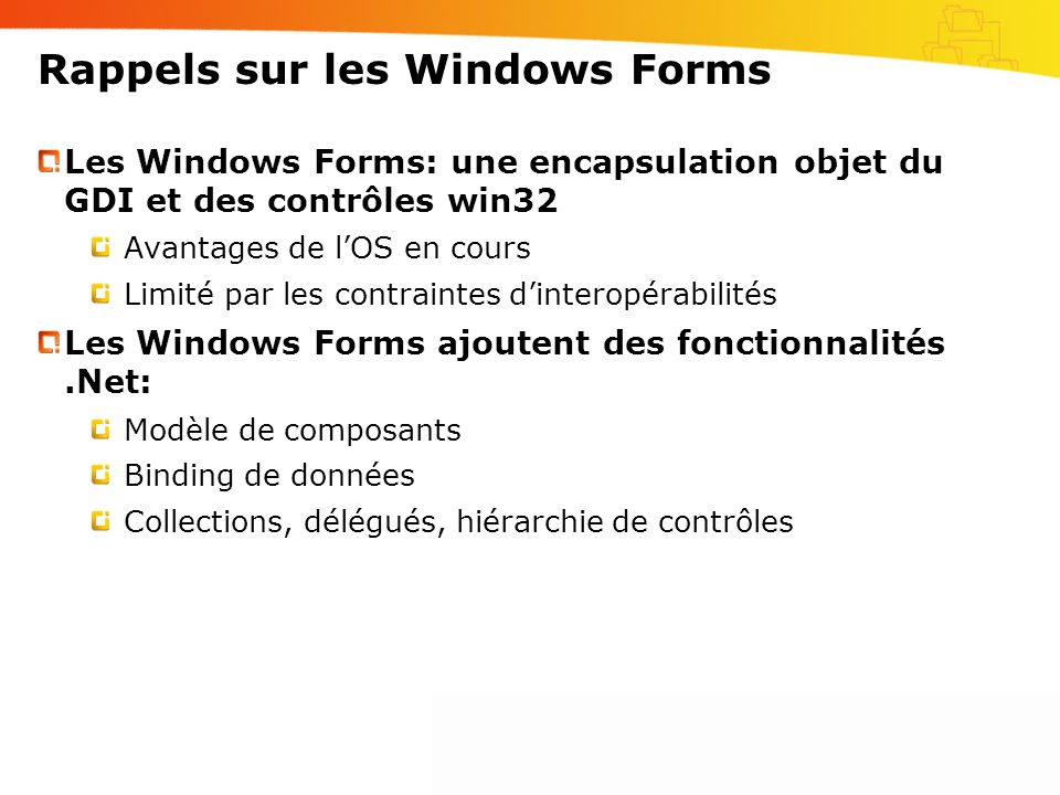 Rappels sur les Windows Forms