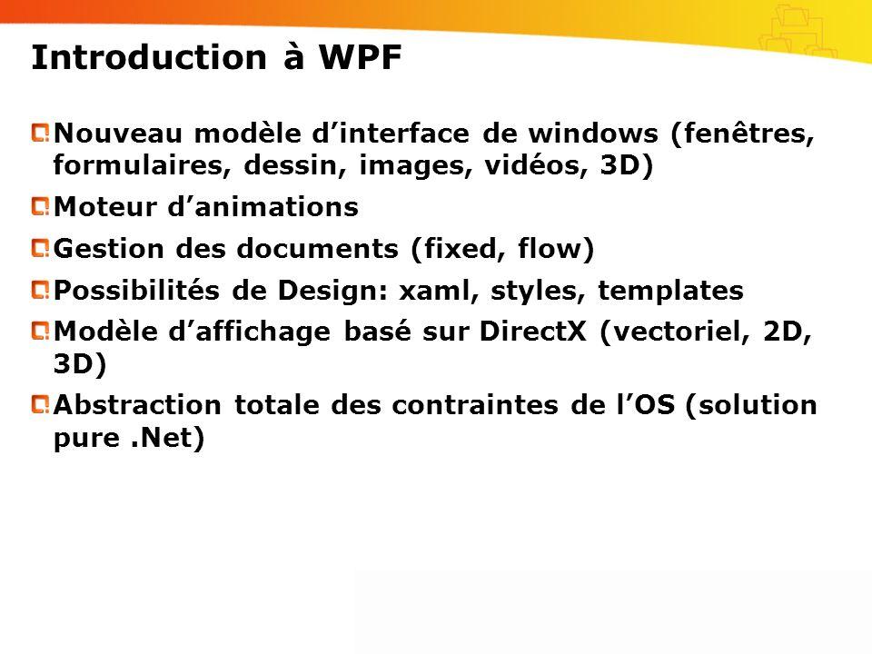Introduction à WPFNouveau modèle d'interface de windows (fenêtres, formulaires, dessin, images, vidéos, 3D)