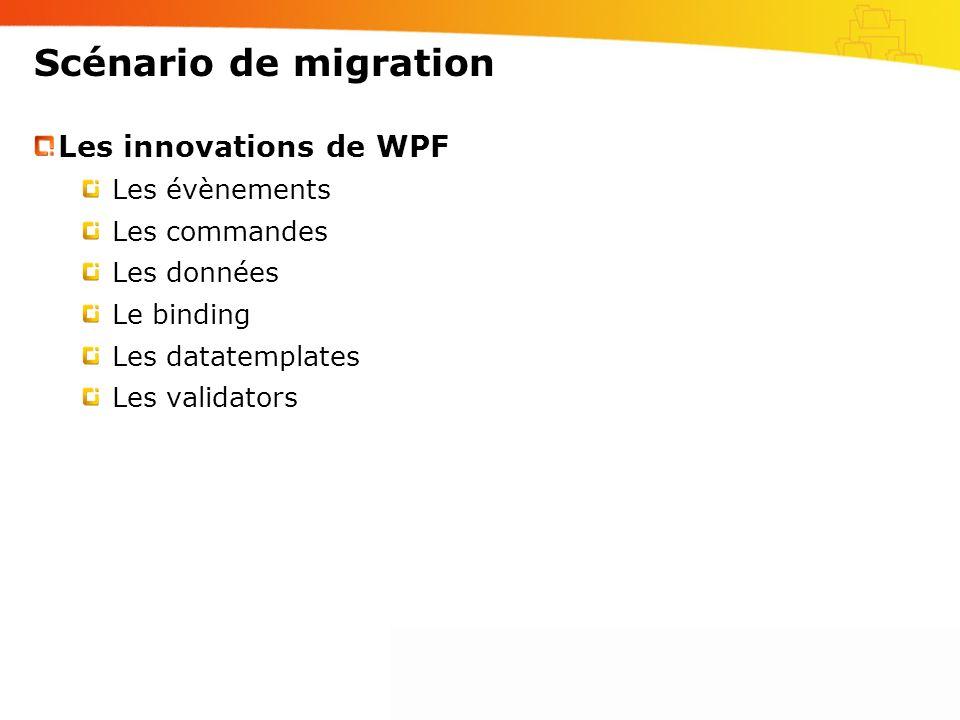 Scénario de migration Les innovations de WPF Les évènements
