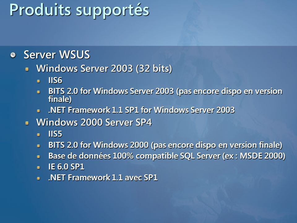 Produits supportés Server WSUS Windows Server 2003 (32 bits)