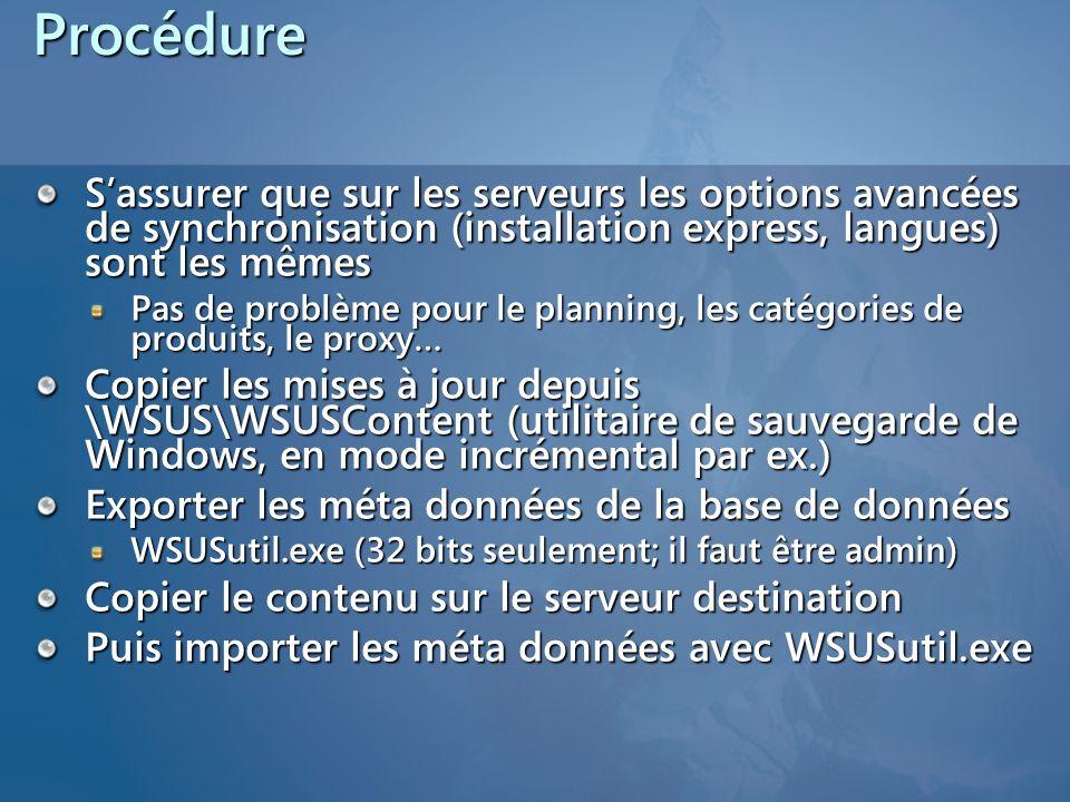 Procédure S'assurer que sur les serveurs les options avancées de synchronisation (installation express, langues) sont les mêmes.