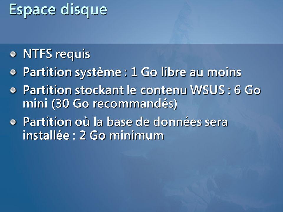 Espace disque NTFS requis Partition système : 1 Go libre au moins