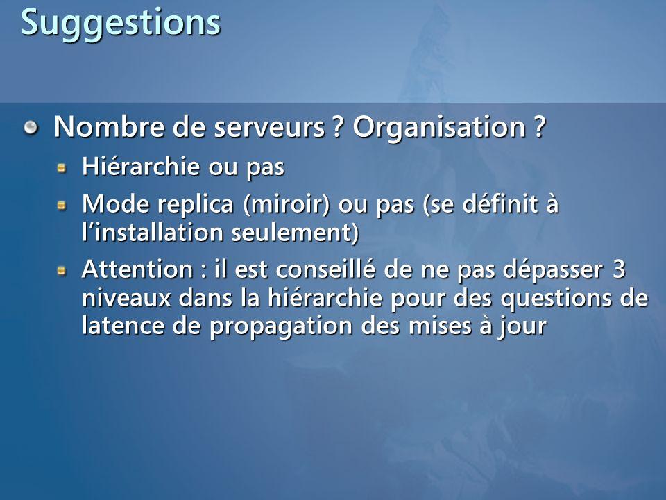 Suggestions Nombre de serveurs Organisation Hiérarchie ou pas