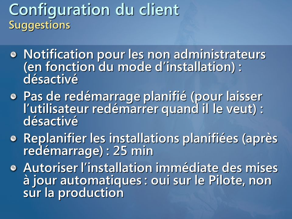 Configuration du client Suggestions
