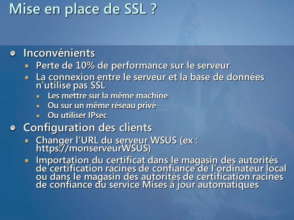 Mise en place de SSL Inconvénients Configuration des clients
