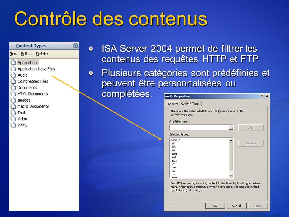 Contrôle des contenusISA Server 2004 permet de filtrer les contenus des requêtes HTTP et FTP.