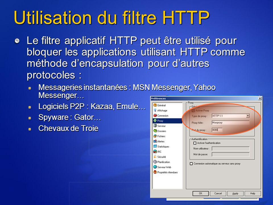 Utilisation du filtre HTTP