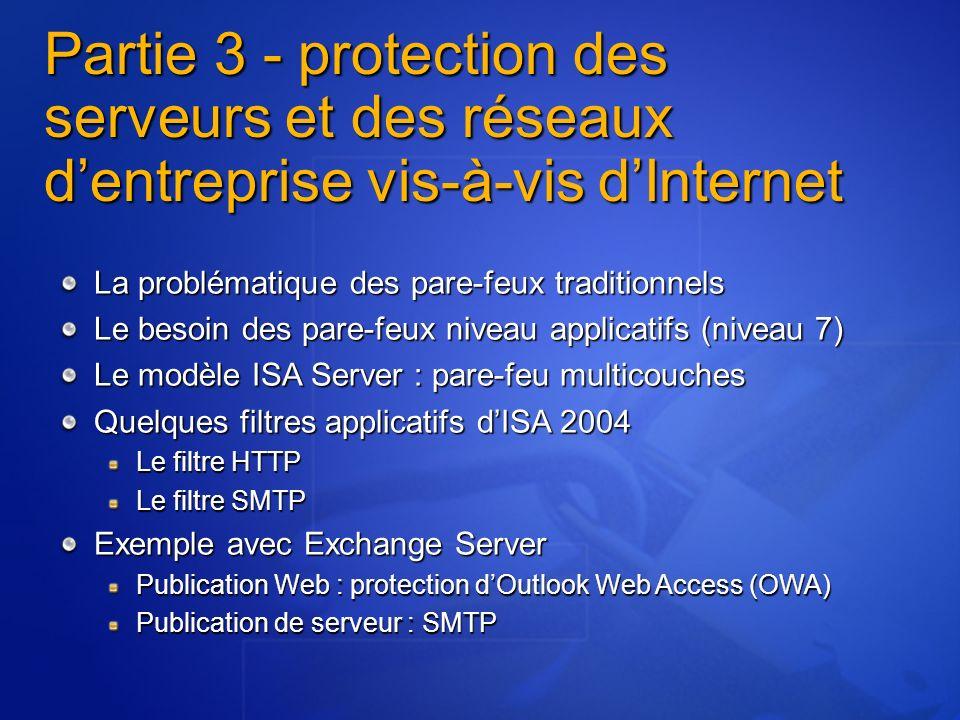 Partie 3 - protection des serveurs et des réseaux d'entreprise vis-à-vis d'Internet