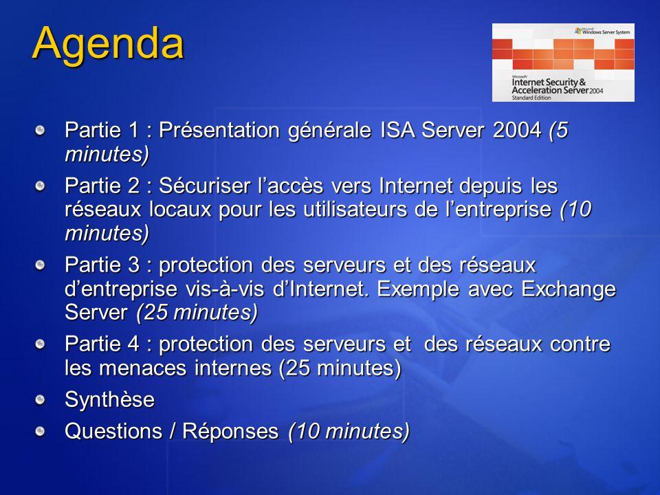 Agenda Partie 1 : Présentation générale ISA Server 2004 (5 minutes)