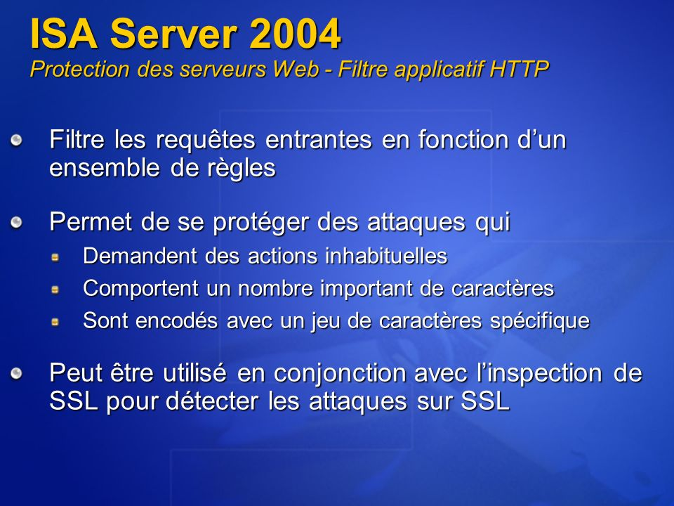 ISA Server 2004 Protection des serveurs Web - Filtre applicatif HTTP