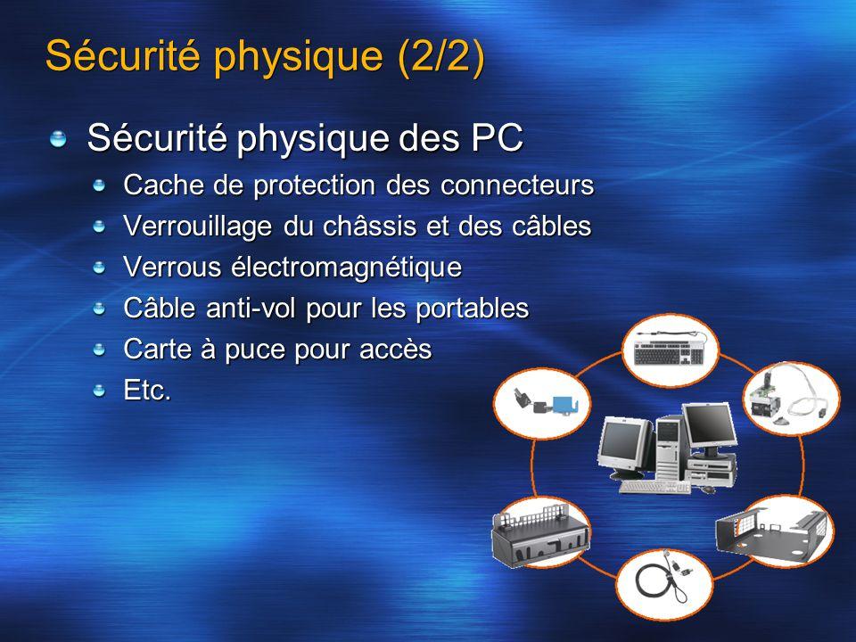 Sécurité physique (2/2) Sécurité physique des PC
