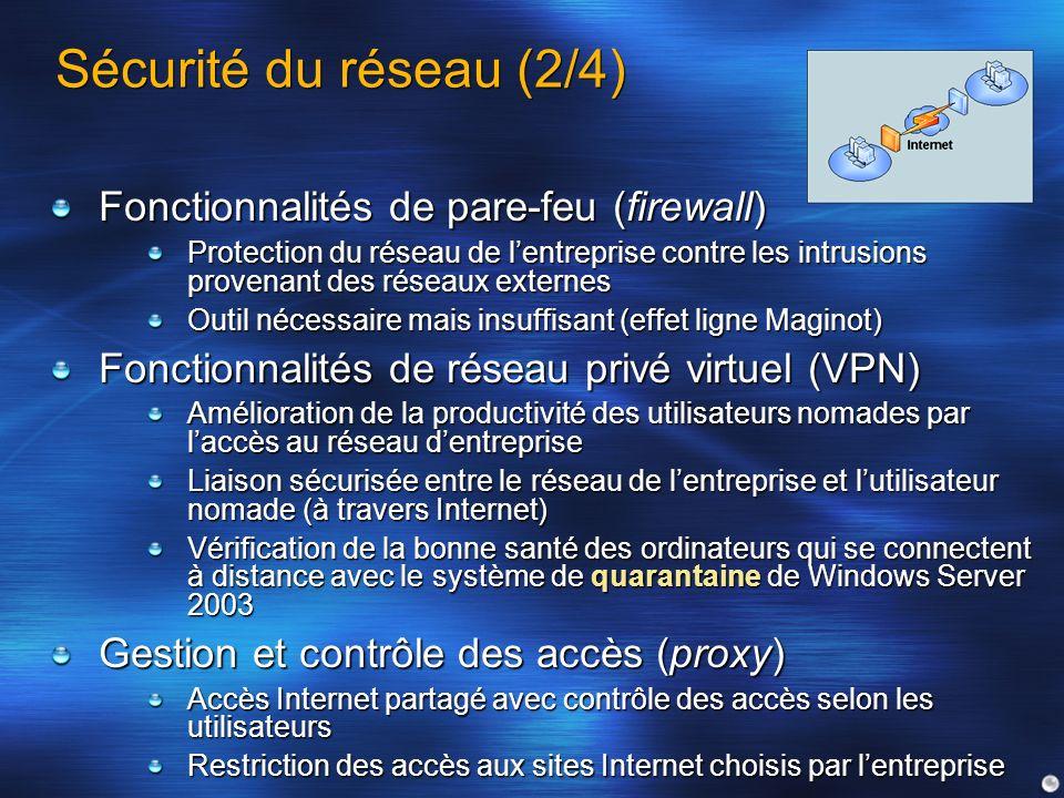 Sécurité du réseau (2/4) Fonctionnalités de pare-feu (firewall)
