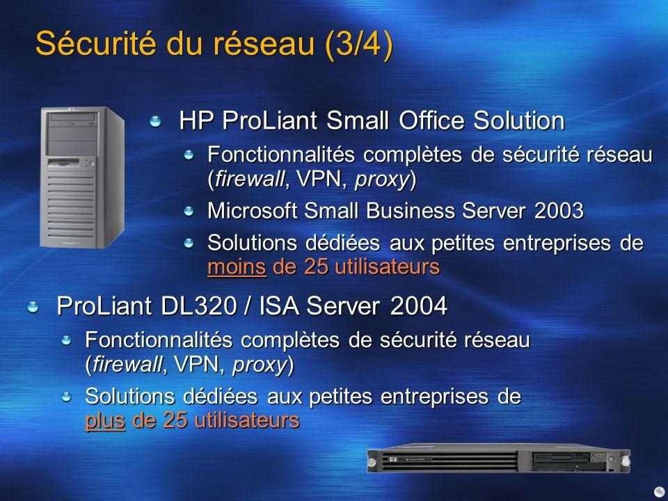 Sécurité du réseau (3/4) HP ProLiant Small Office Solution