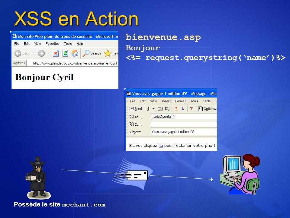 XSS en Action bienvenue.asp