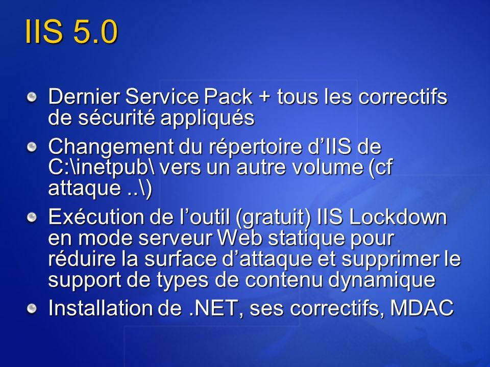 IIS 5.0 Dernier Service Pack + tous les correctifs de sécurité appliqués.