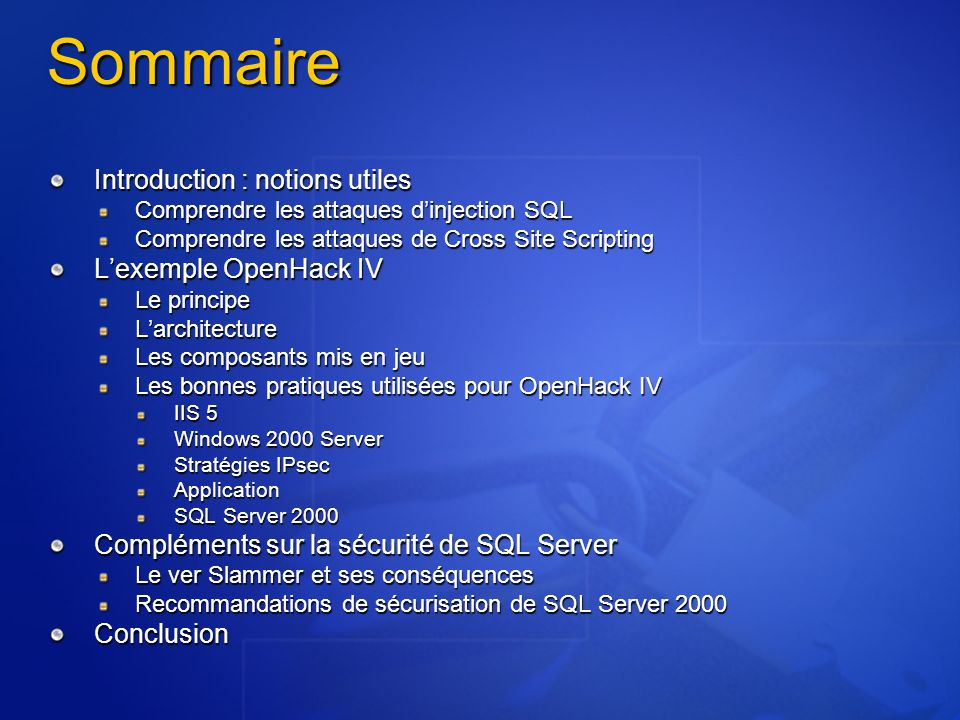 Sommaire Introduction : notions utiles L'exemple OpenHack IV