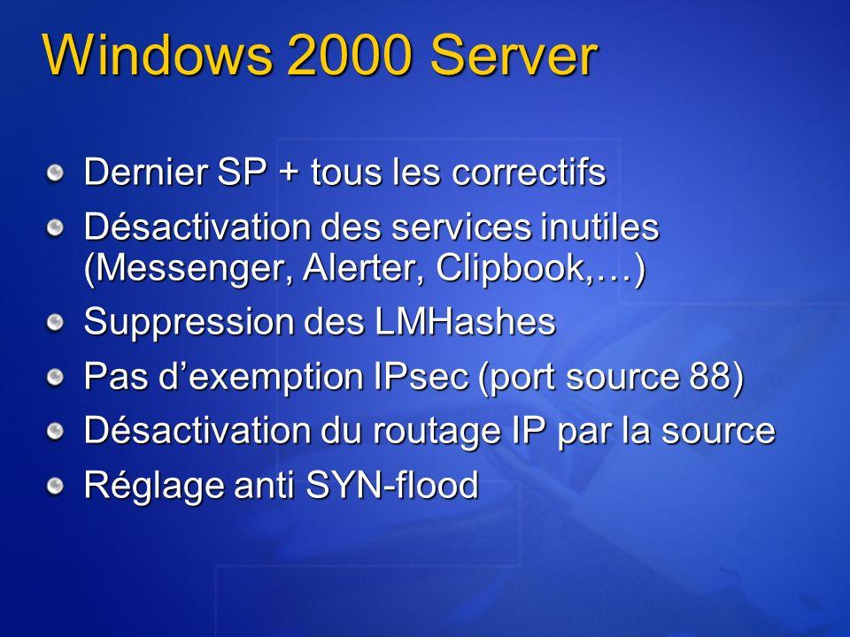 Windows 2000 Server Dernier SP + tous les correctifs