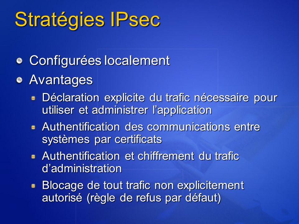 Stratégies IPsec Configurées localement Avantages