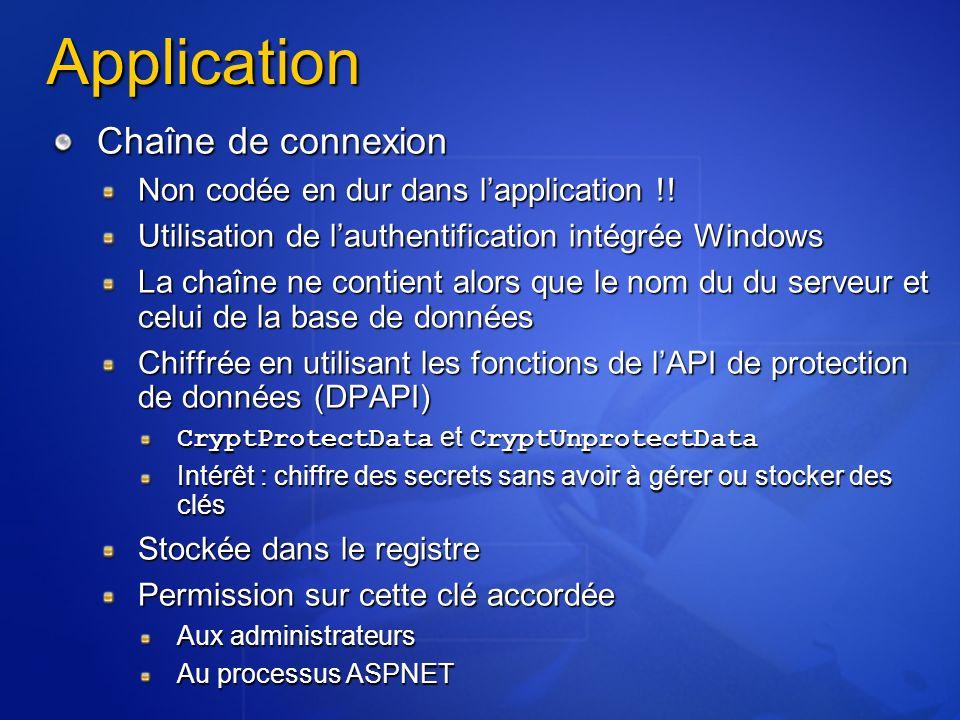 Application Chaîne de connexion Non codée en dur dans l'application !!