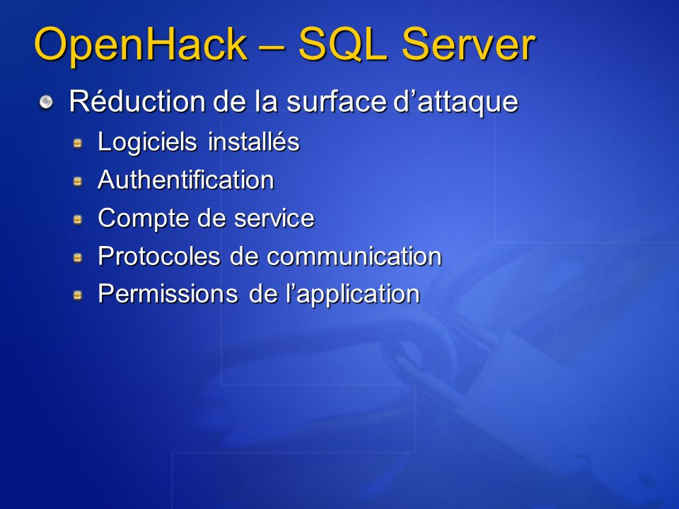 OpenHack – SQL Server Réduction de la surface d'attaque