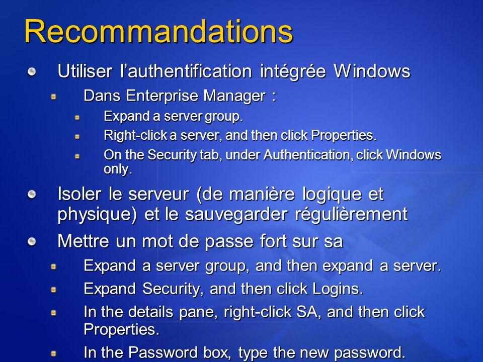 Recommandations Utiliser l'authentification intégrée Windows
