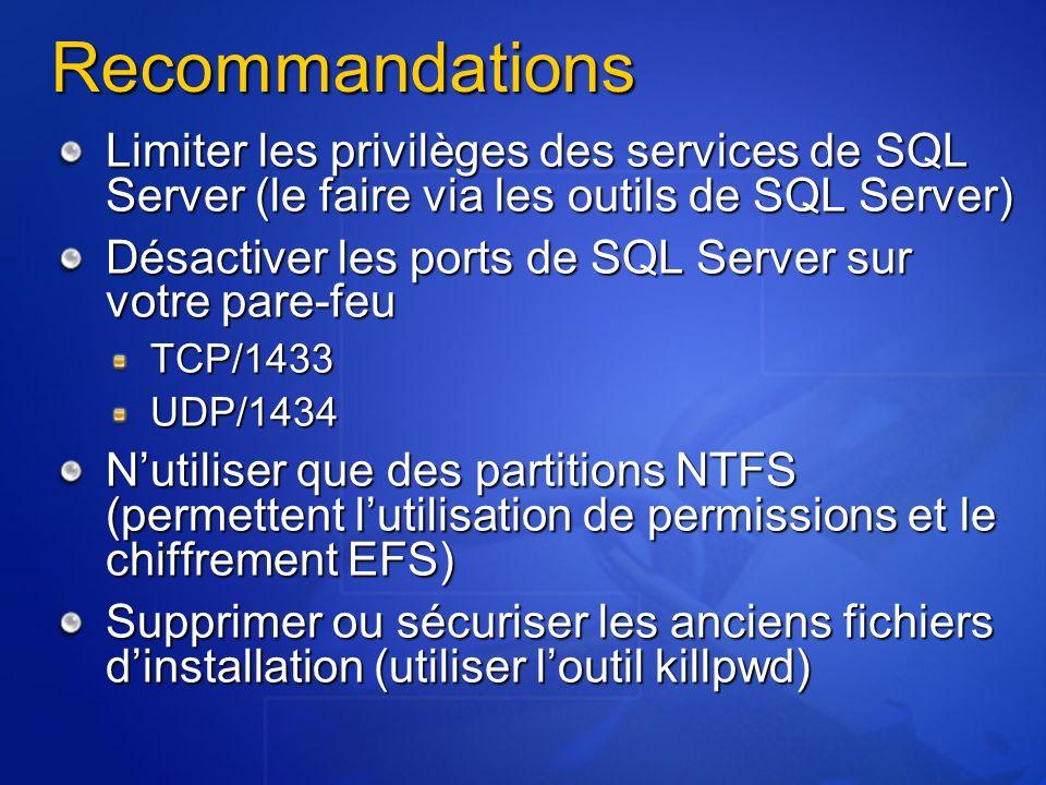 3/26/2017 3:55 PM Recommandations. Limiter les privilèges des services de SQL Server (le faire via les outils de SQL Server)