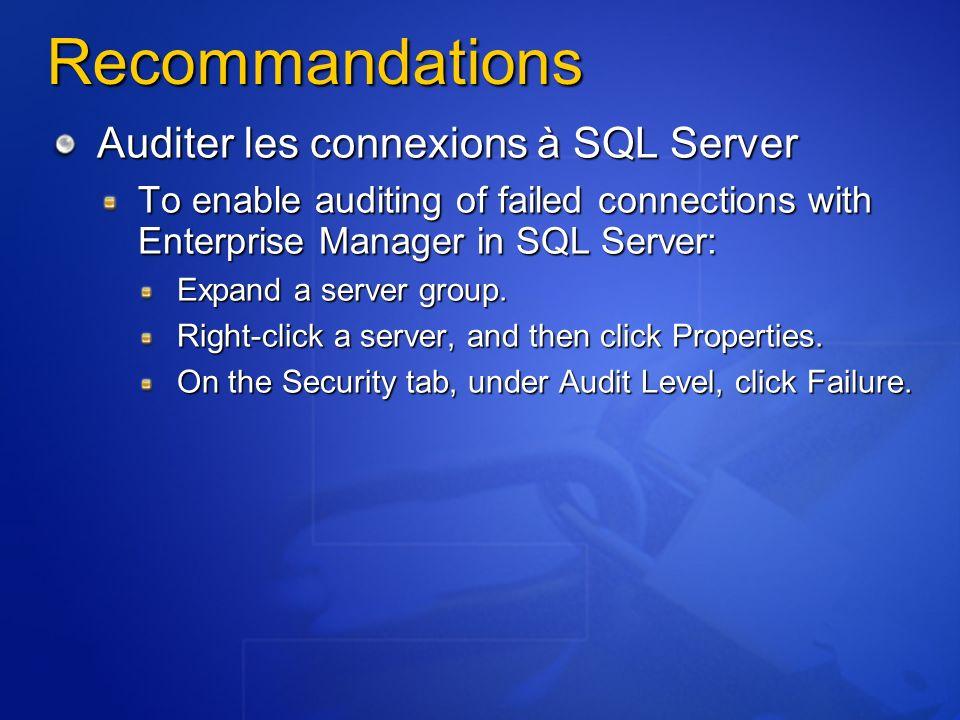 Recommandations Auditer les connexions à SQL Server