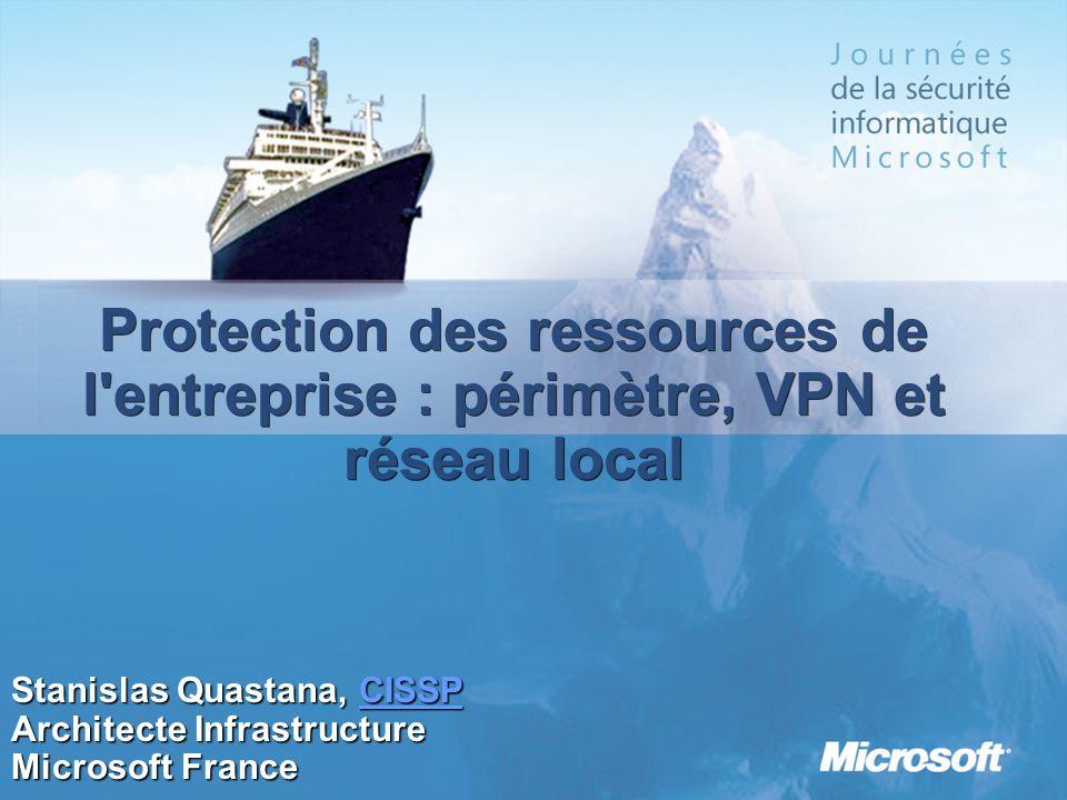 3/26/2017 3:55 PMProtection des ressources de l entreprise : périmètre, VPN et réseau local. Stanislas Quastana, CISSP.