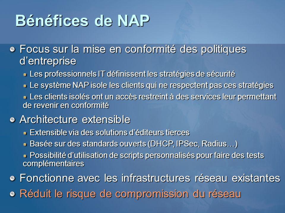 Bénéfices de NAP Focus sur la mise en conformité des politiques d'entreprise. Les professionnels IT définissent les stratégies de sécurité.